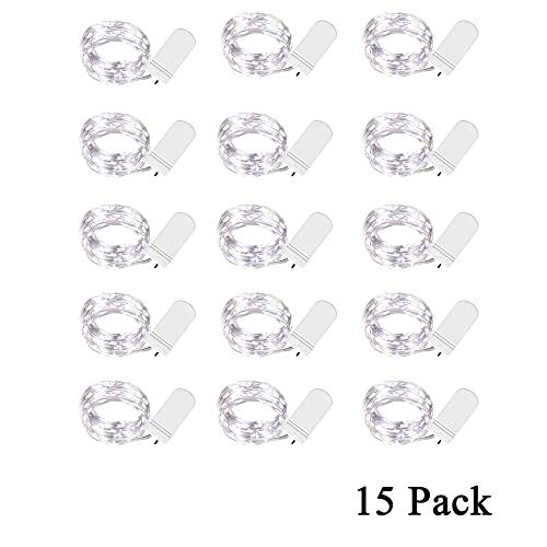 (ARAn Fairy String Lights, 9.8 ft 30 LED, 15 Pack Christmas Lights Silver Plated Copper Firefly Lights Moon Lights Party Christmas Decorations - Cold White)