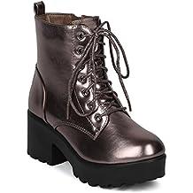 Indulge Mode IV Women Metallic Lug Sole Platform Block Chunky Heel Casual Trendy Dressy Festival Combat Bootie Boot