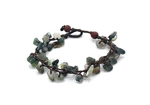 Moss Agate Bracelet - MGD, Green Moss Agate Chip Bead Bracelet, 19 CM w/ 1 Inch Extend 3-Strand Bracelet, Wrap Bracelet, Women Fashion Jewelry, JB-0334B