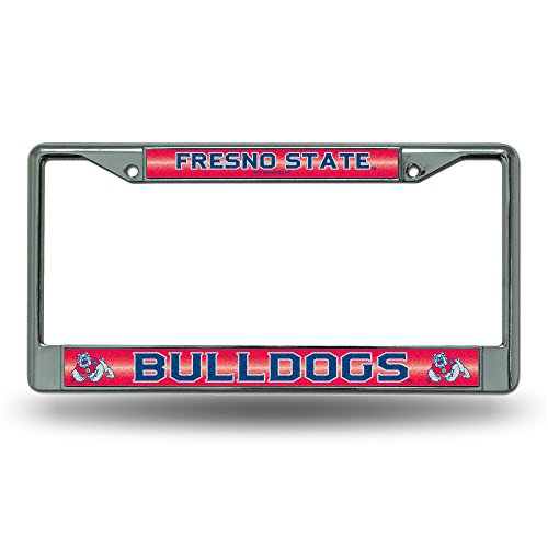 NCAA Fresno State Bulldogs Bling License Plate Frame, Chrome, 12 x 6-Inch