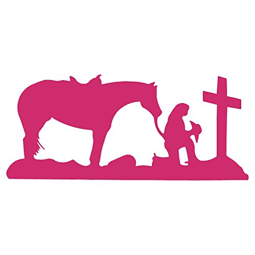Cowgirl praying cross horse pray christian memory sticker Decal (6