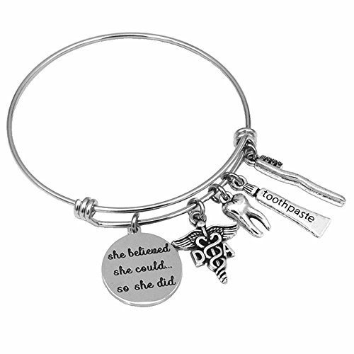Miss Pink DA Dental Assistant Graduation Gifts She Believed She Could Charm Bangle Bracelet Dentist Jewelry for Women