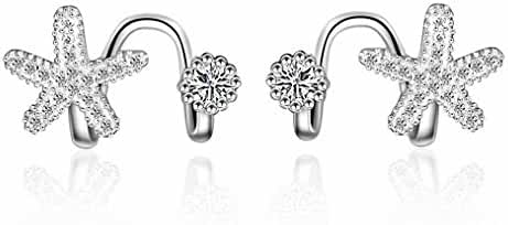 megko Clear CZ Starfish Pave Crystal Ear Jacket Earrings Ear Cuffs Earring for women lady girls