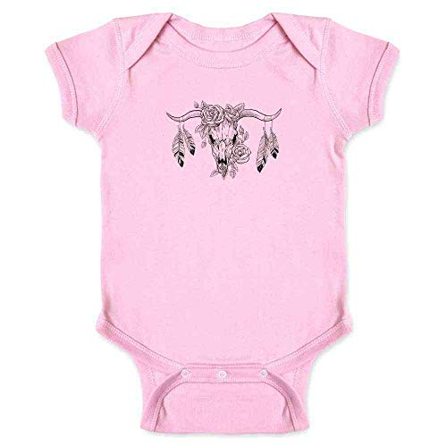 Pop Threads Bull Skull With Roses and Feathers Pink 6M Infant Bodysuit ()