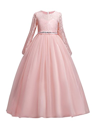 DOCHEER Fancy Girls Dress Tulle Lace Wedding Bridesmaid Ball Gown Floor Length Dresses for 4-14 Years (1023 Pink, 9-10 Years) ()