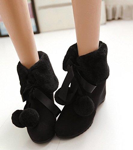 Classique Courte Fourrure Style Tige Aisun Bottines Noir Femme 5xanIR