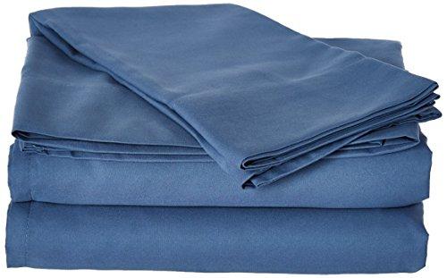 (First At Home Venezia Ultra Soft 100% Microfiber Solid Color Sheet Set, King, Blue)