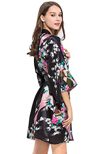 Kimono Schwarz Un Albornoz Estampado Tamaño Camisón Elegante Largo Basic Floral Pijama Vintage Ropa Mujer Rosado Para Moda Vestido twx6pgTxq