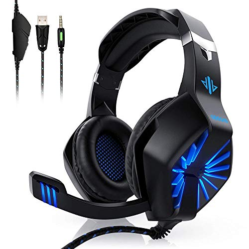 Maxzero Stereo Gaming Headset Aislamiento acústico de auriculares con micrófono, sonido envolvente, compatible con Xbox One, PS4, PC, Nintendo Switch, computadora portátil, Mac, iPad, luces LED, orejeras suaves, control de volumen