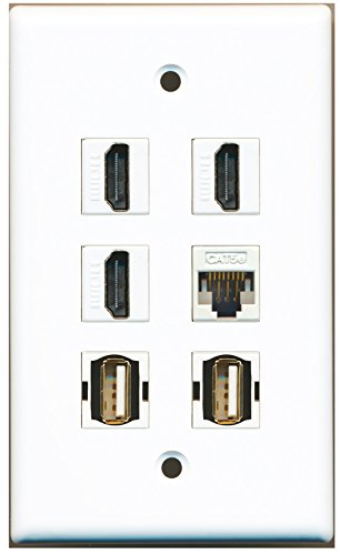RiteAV - 3 HDMI 2 Port USB A-A 1 Port Cat5e Ethernet White Wall (1 Port Cat5e Wall Plate)