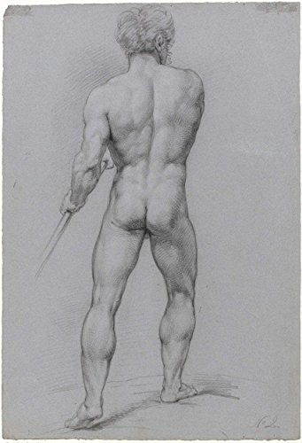 """Classic Art Poster - Standing male nude, seen from the back, Jan Willem Pieneman, 1789 - 1853 16.5"""" x 24"""""""