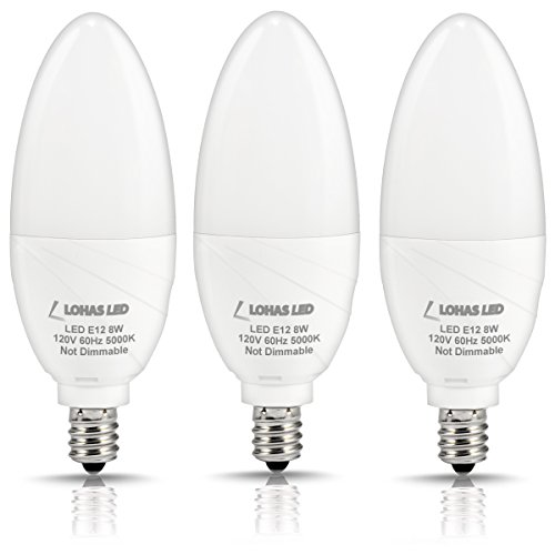(LOHAS Daylight LED Candelabra Bulbs, E12 Base 5000K, 75W Light Bulb Equivalent(8W LED), Candle Shape 750 Lumens, 120 Volts, 180 Degree Beam Angle, Non-Dimmable, 3Pack)
