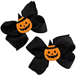 Lifestyler 1 Pair Halloween Toddler Baby Kids Girls Bowknot Hairpin Headdress Black