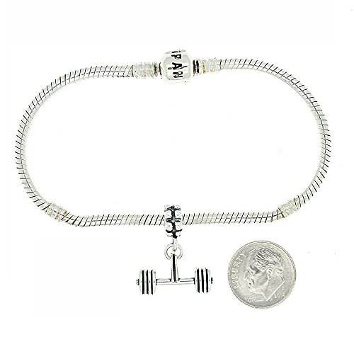 Argent sterling oxydé haltérophilie Barbell Droit Bracelets