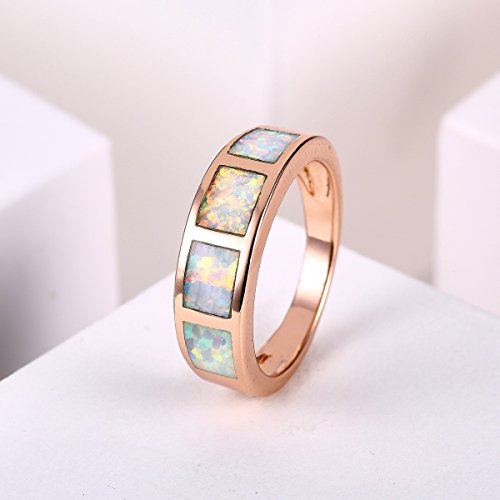 Jiangyue Women Rings Fire Created Opals Gold Plated Ring Party Engagement Wedding Band Charming Jewelry Size 5-10