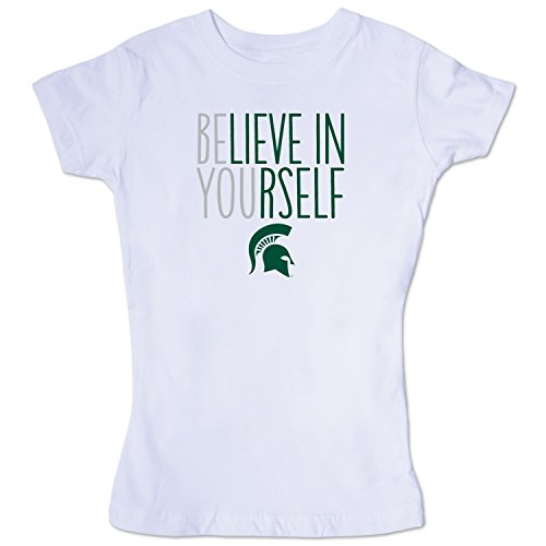 NCAA Michigan State Spartans Girls Short Sleeve Tee, Size 8-10 /Small, White