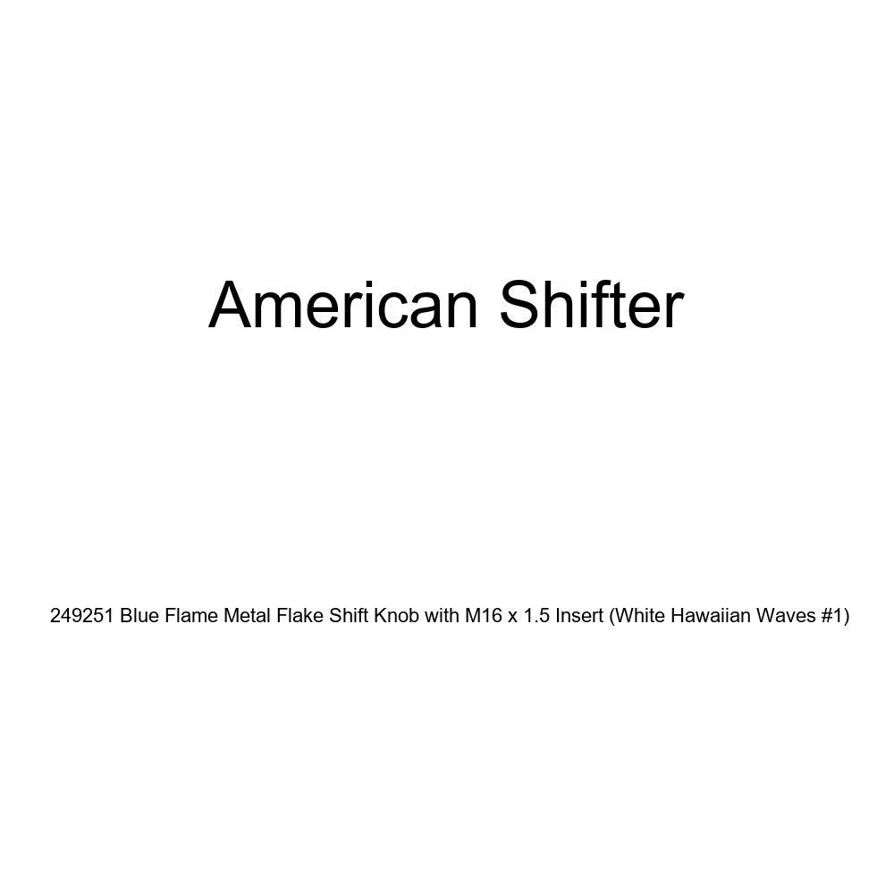 White Hawaiian Waves #1 American Shifter 249251 Blue Flame Metal Flake Shift Knob with M16 x 1.5 Insert