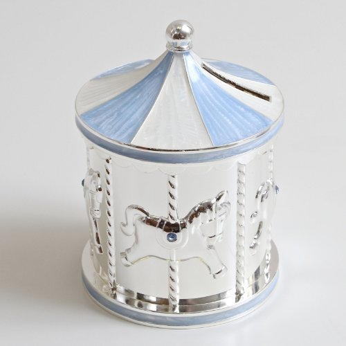 Silver Plated Carousel Money Box Blue by SOLEFAVORS