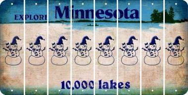 Bargain World Minnesota Snowman Cut License Plate Strips (Set of 8) (Sticky Notes)