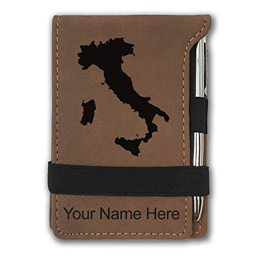 Mini Notepad, Country Silhouette Italy, Personalized Engraving Included (Dark Brown)
