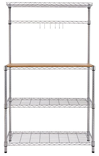 Finnhomy 14x36x61 4-Tiers Adjustable Kitchen Bakers Rack Kitchen Cart Microwave Stand with Chrome Shelves and Thicken Bamboo Cutting Board by Finnhomy (Image #3)