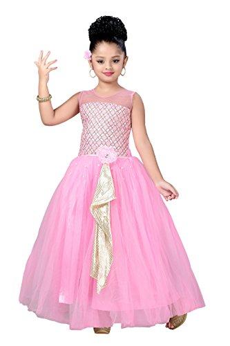 Aarika Girl's Self Design Net Fabric Party Wear Ball Gown (G-2824-PINK_34_12-13 Years) by Aarika