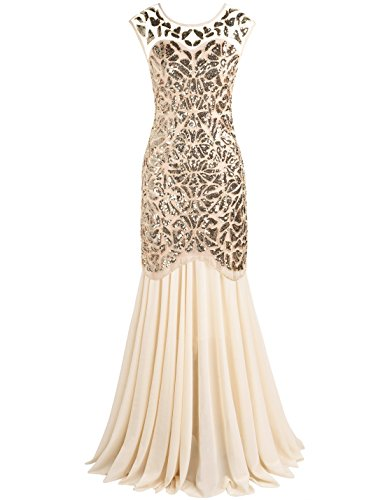 PrettyGuide Women 's 1920s Sequin Gatsby Flapper Formal Evening Prom Dress M Gold Beige