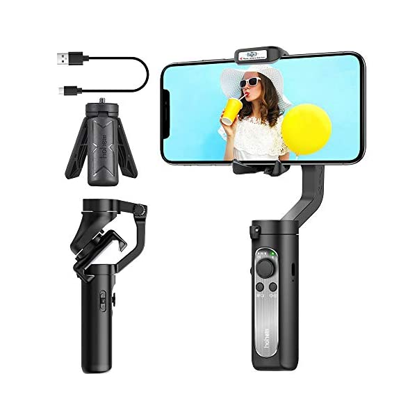 3-Axis Gimbal Stabilizer for Smartphone - 0.5lbs Lightweight Foldable Phone Gimbal for iPhone 11 Pro Max X XS, Auto Inception Dolly Zoom, Pocket Gimbal for Video Vlog Youtuber Hohem iSteady X (Black) 1