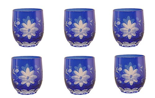 Home Decoration Accessories Cobalt Blue Glass Votive Candle Holder Etched Eight Petal Flowers Set of -