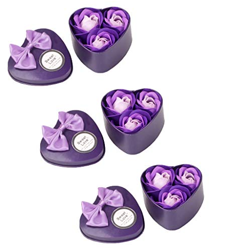 Alisy 3 Iron Box Bath Body Petal Rose Flower Soap - Soap Flowers Bouquet in A Box Mother's Day Gift Box Set with Small Gifts Promotional Gifts 9Pcs (Purple) ()
