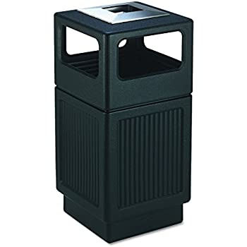 e033851cb67 Safco Products Canmeleon Outdoor Indoor Recessed Panel Trash Can with Ash  Urn 9477BL
