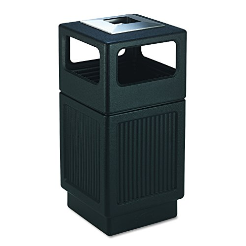 Safco Products Canmeleon Outdoor/Indoor Recessed Panel Trash Can with Ash Urn 9477BL, Black, Decorative Fluted Panels, Stainless Steel Ashtray, 38 Gallon Capacity - Garbage Cans Waste Receptacles