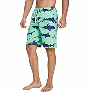 Swim Trunks for Mens Shark Printed Surf Swimsuit Beach Bathing Swimwear Shorts Quick Dry Mesh Lining