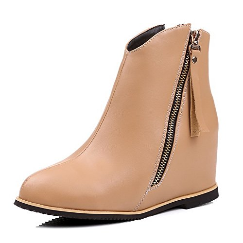 Women's Low Solid High Closed Soft Top Material Allhqfashion Round Toe Heels Apricot Boots U6cwRBdBq
