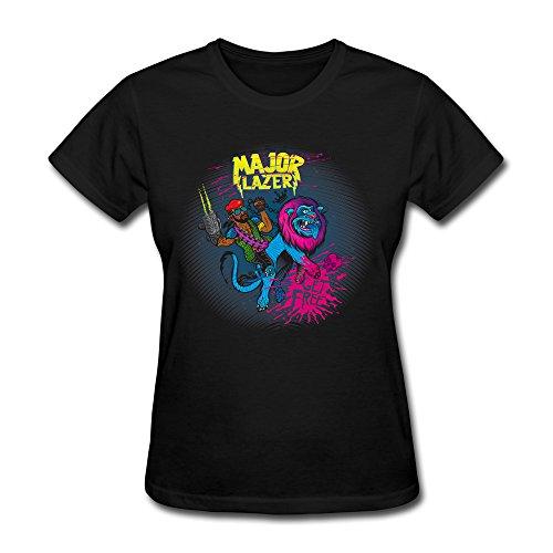 Jasmincc Women's Major Lazer & The Flyin Zion Lion Of Freedom T-shirt Black X-Small