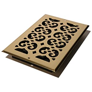 Decor Grates SP610W Scroll Steel Plated Wall Register, 6 x 10-Inch, Brass