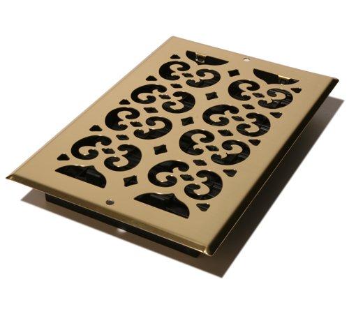 (Decor Grates SP610W Scroll Steel Plated Wall Register, 6 x 10-Inch, Brass)