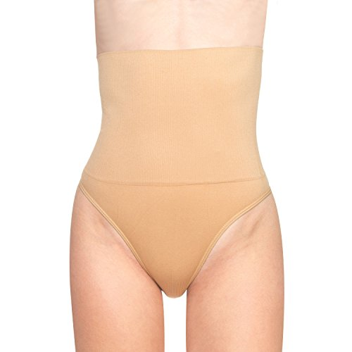 BOMIMI Women Shapewear Thong Cincher Girdle Tummy Control Panties High Waist Panty Body Shaper Beige