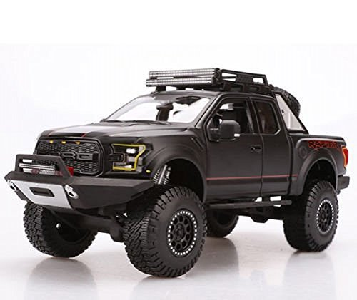 Ford 2017 F-150 Raptor Pickup Truck Matt Black Off Road Kings 1/24 by Maisto - Diecast Ford