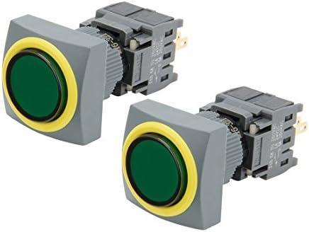 uxcell AC 250V 0.5A SPDTラッチング押しボタンスイッチ 方形トップグリーン丸形ボタン 2個入り