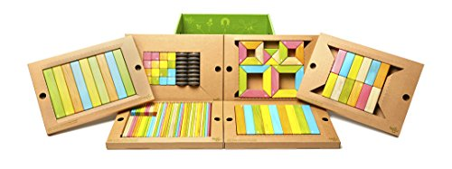 130 Piece Tegu Classroom Magnetic Wooden Block Set, Tints