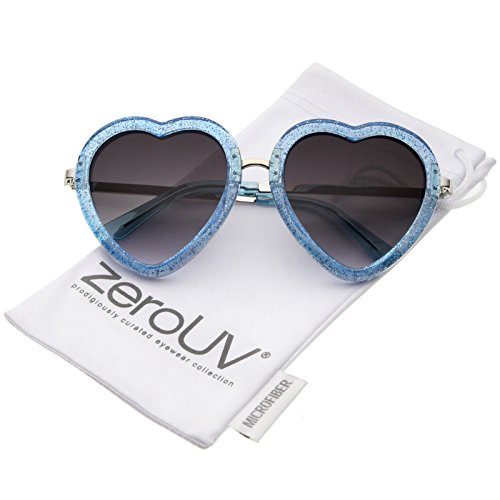 zeroUV - Women's Transparent Glitter Frame Metal Temple Heart Shaped Valentine's Day Sunglasses 53mm (Blue-Silver / - Frames Heart Glasses