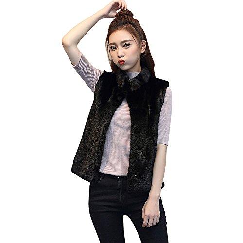 Longra ❤️ Mujer Otoño Invierno Moda Negro Gilet Elegante Piel Sintética Chaleco Sin Mangas Vest Chaqueta Negro