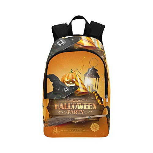 YPink Modern Halloween Party Flyer with Old Sign Black L Casual Daypack Travel Bag College School Backpack for Mens and Women]()