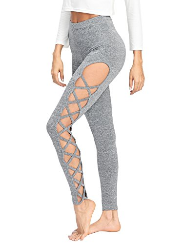 SweatyRocks Leggings Women Yoga Workout Pants High Waist Cutout Tights (Medium, Grey #4) (Out Cut Out)
