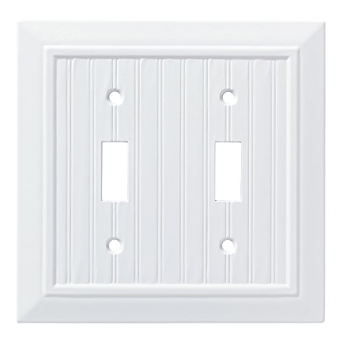 Double Outlet Switch - Franklin Brass W35268-PW-C Classic Beadboard Double Switch Wall Plate/Switch Plate/Cover, Pure White