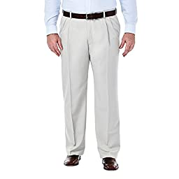 Haggar 41714529486 Men\'s Fit Pleated Front Expandable Waist Pant, String - 44-29
