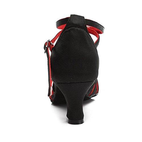 HROYL Zapatos de baile/Zapatos latinos de satén mujeres ES7-F17 5CM Negro + rojo