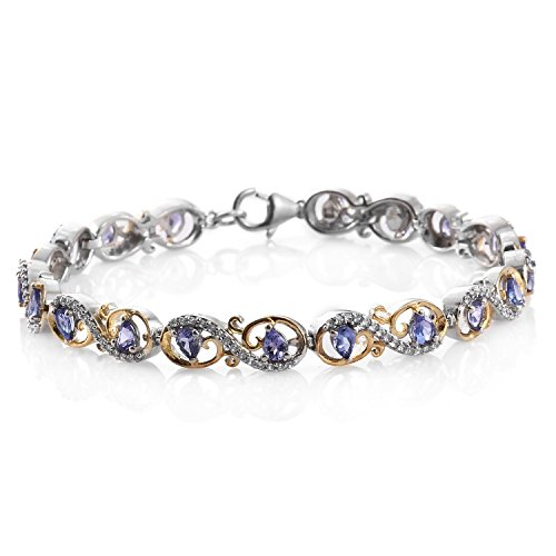 Premium AAA Tanzanite, Zircon 14K Yellow Gold and Platinum Plated Silver Line Bracelet 7.50 in 3.6 cttw. 14k Yellow Gold Tanzanite Bracelet