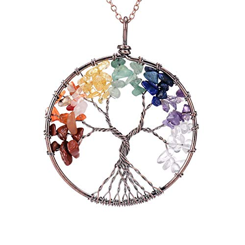 sedmart Gemstone Tree of Life Pendent Necklace Natural Rainbow Birthstone Family Tree Root Antique Copper Wire Wrapped Jewelry Healing Chakra Quartz Crystal Necklace for Mom -
